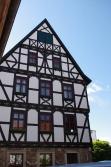 Fulda, une maison à colombage restaurée dans la vieille ville.