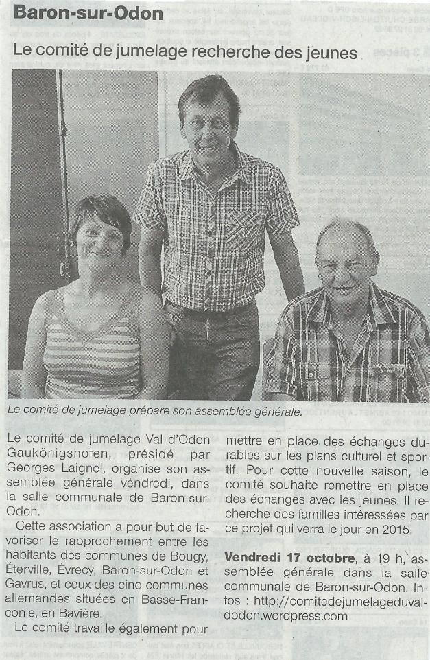 Article paru dans Ouest France le mercredi 15 octobre 2014