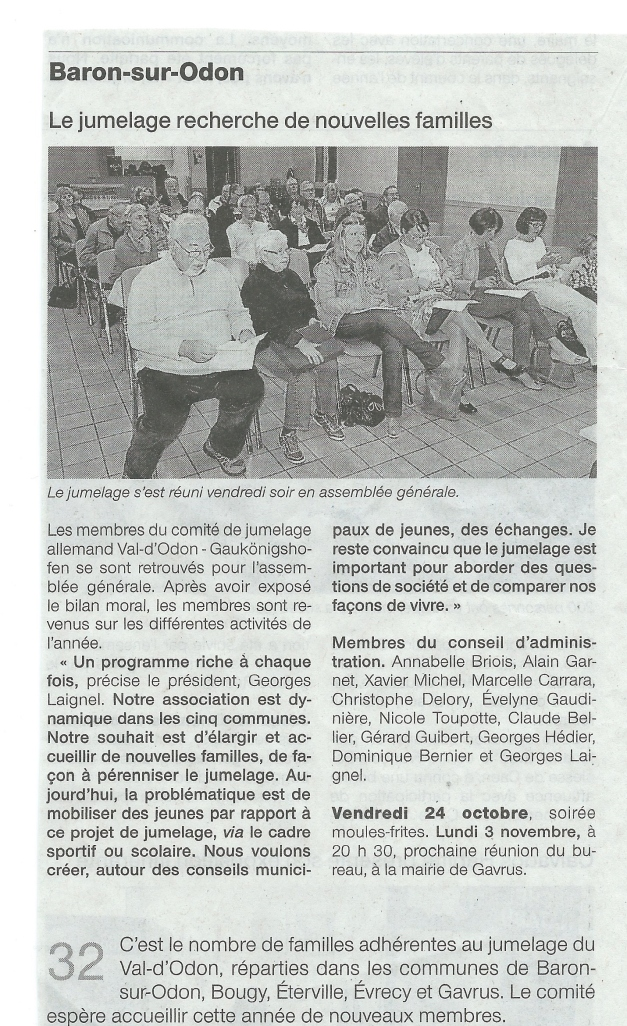 Article Ouest France paru le mercredi 22 octobre 2014.