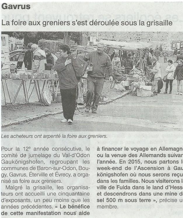 Article paru dans Ouest France samedi 2 mai