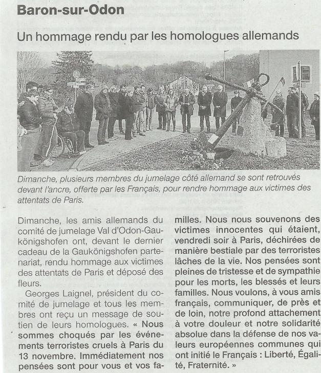 Article Ouest France publié le 17 novembre 2015