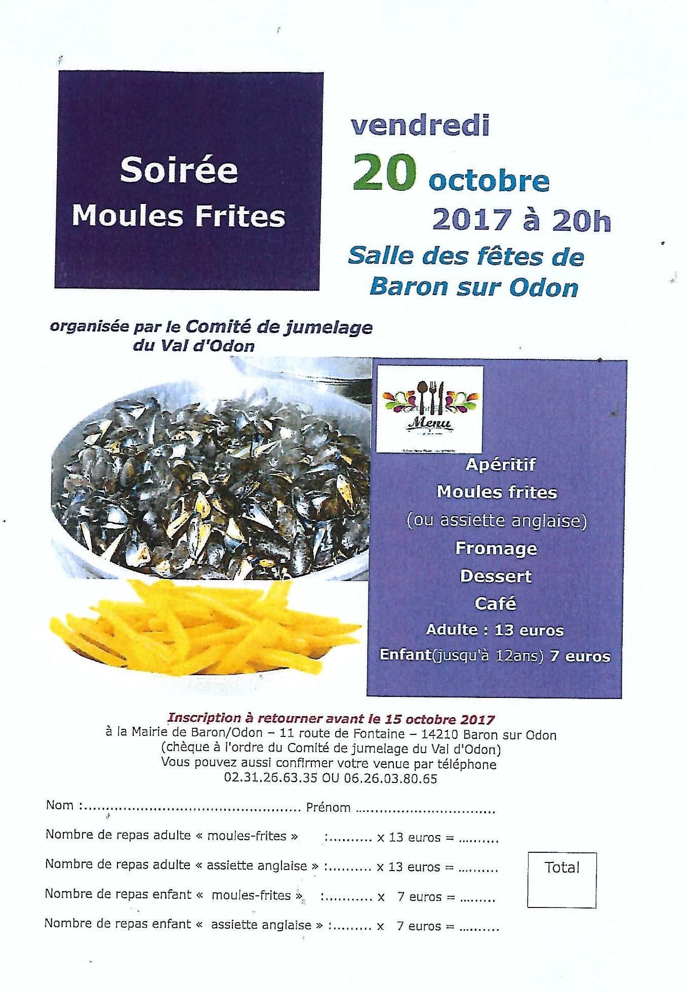 Affiche soirée Moules frites Baron 2017