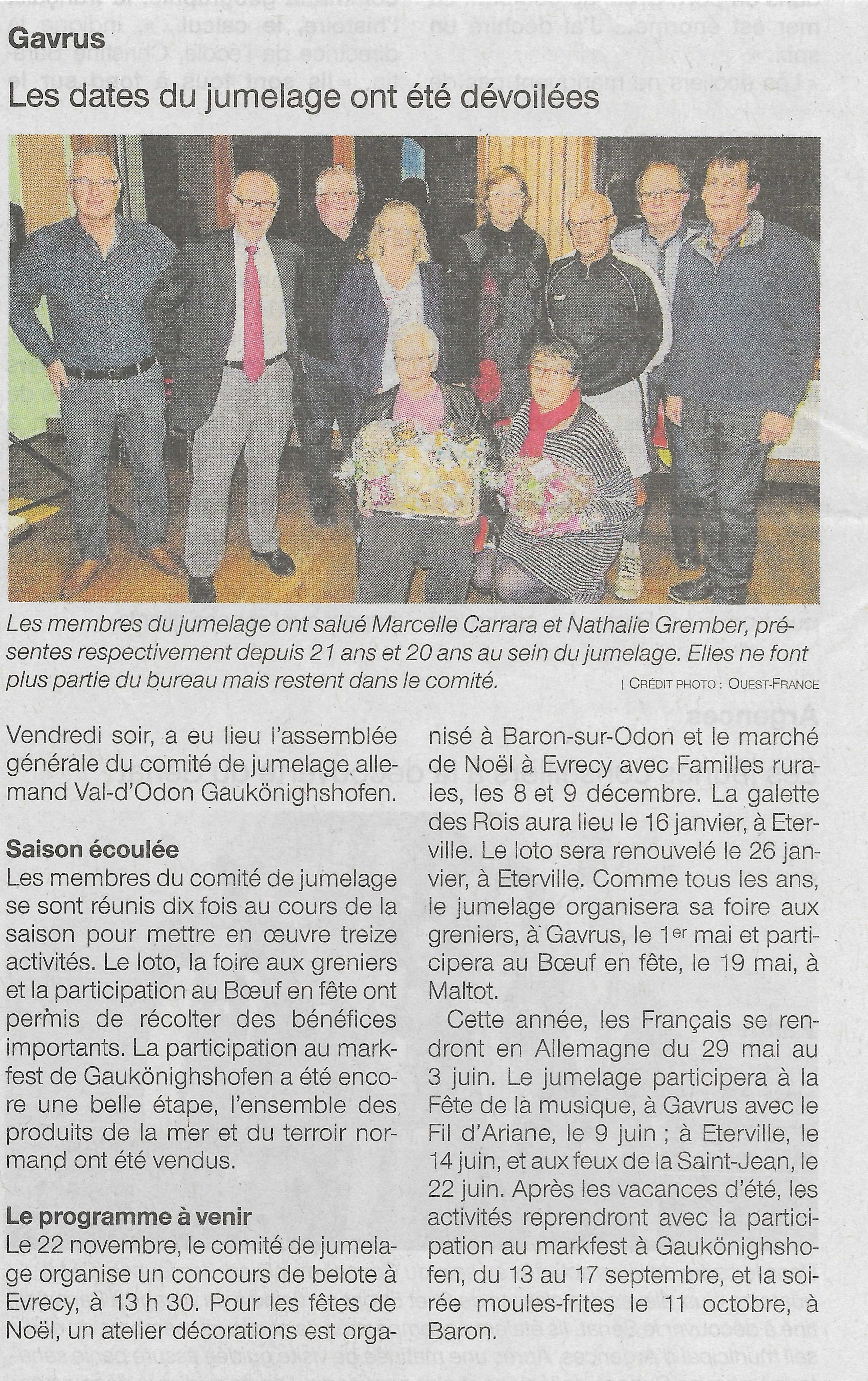 Article Ouest france Gavrus AG 2018